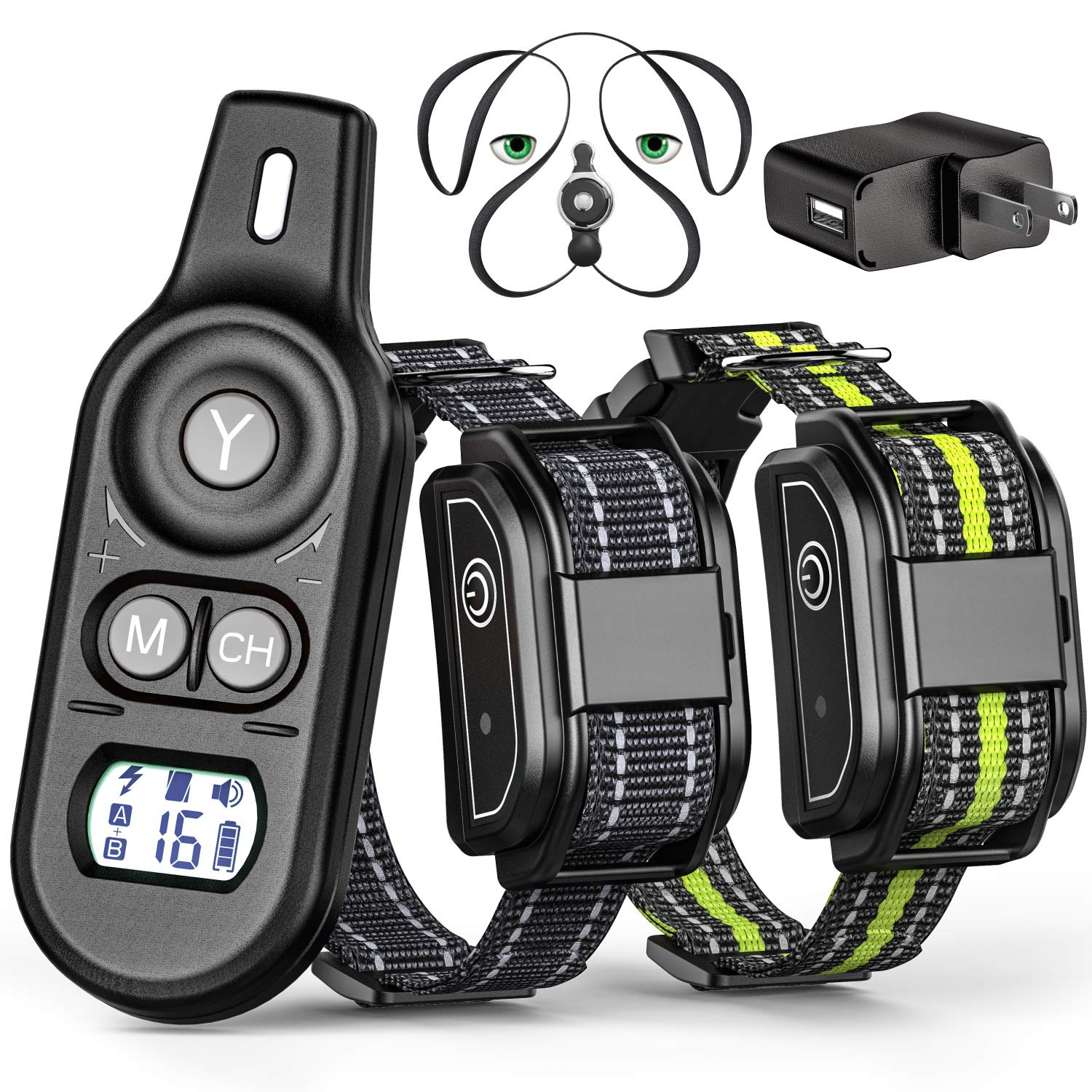 Veckle Dog Training Collar, 2019 Upgraded Rechargeable Shock Collar for 2 Dogs Waterproof Dog Shock Collar with Remote, Beep, Charging Seat, Vibration Dog Electronic Collar for Large and Medium Dogs