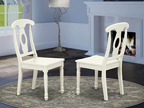 East West Furniture KEC-LWH-W Kenley Nappoleon-Styled Dining Chair with Plain Wood Seat in Linen White Finish Set of 2