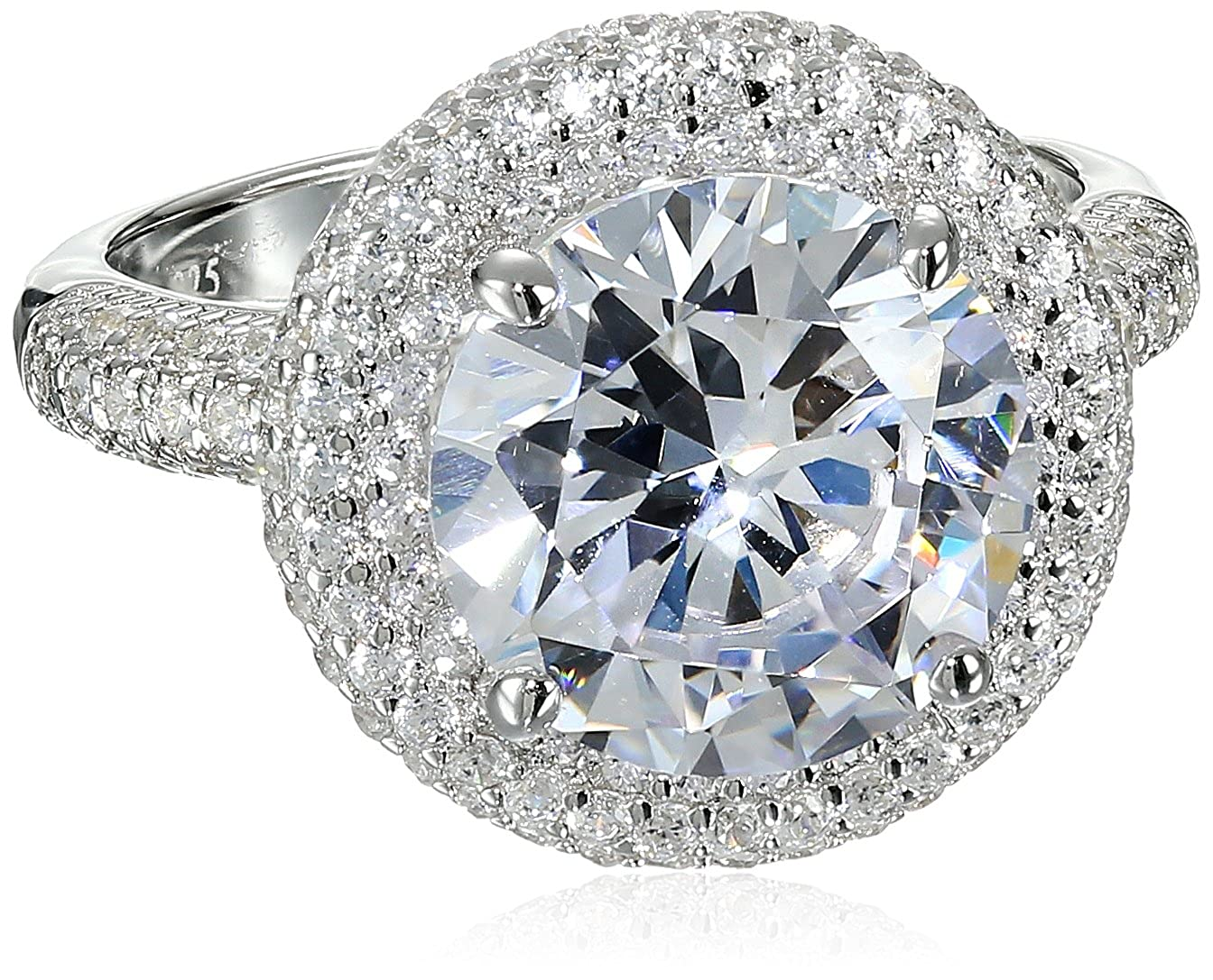 Charles Winston S Silver, Cubic Zirconia 11mm Round CZ Ring, 5.00 ct. Center, 6.30 ct. tw. RG5008-CZ-6-Parent