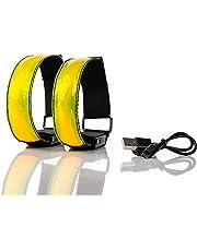 LOT DE 2 BRASSARDS RECHARGEABLES À LED Sécurité de nuit haute visibilité -  Réfléchissant pour sport 1f9649cb647