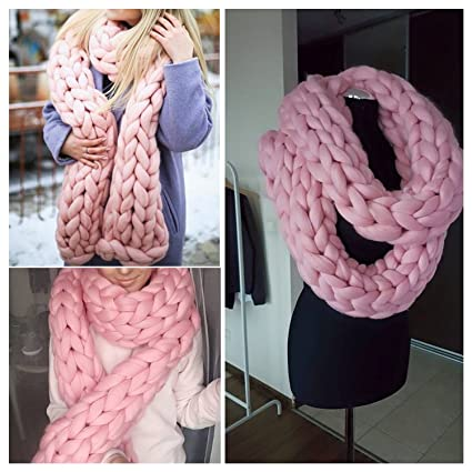Amazon Com Chunky Knitted Scarf Giant Extreme Infinity Chain Scarf