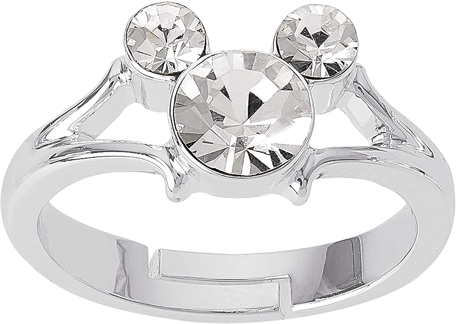 Disney Mickey Mouse Jewelry, Silver Plated Crystal Ring, Size 4,