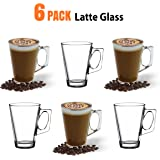 ANSIO® Latte Coffee Glass Cups - 235ml (8oz) - Gift Box of 6 Latte Glasses - Perfect Gift item - Compatible with Most Coffee Machines