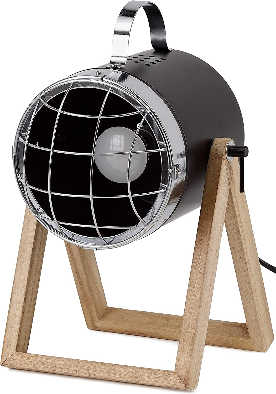 altura hasta 42 cm base de madera BRUBAKER L/ámpara de sobremesa o de pie dise/ño industrial foco metal negro