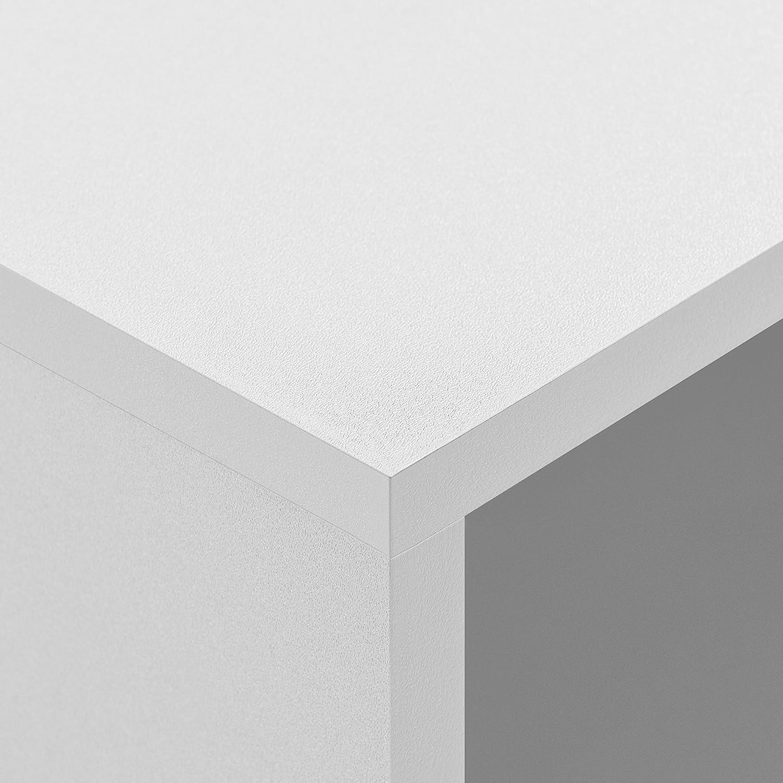 MDF 45x3cm impiallacciato en.casa Porta per scaffale Stabile in Bianco AxLa Adatto per scaffale murale