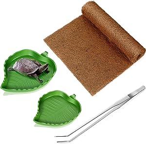 4 Pieces Reptile Carpet Mat Set, Coconut Fiber Liner Pad Terrarium Substrate Liner, Leaf Reptile Food Water Bowl, Reptile Feed Tong, Tortoise Carpet Mat for Lizard Snake Chameleon Turtle Bunny