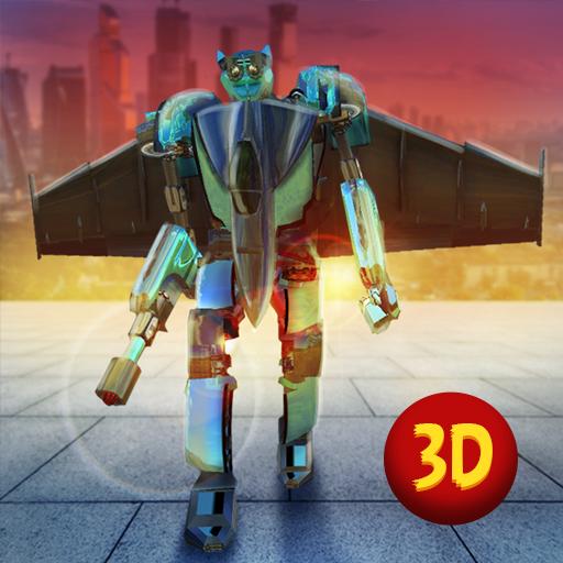 (Evil Air Plane Robot Attack - Modern City Flying)