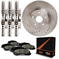 Max Brakes Cross Drilled Rotors w/Ceramic Pads Front + Rear Perforamnce Brake Kit KT055323 [Fits 1996-1997 Ford Thunderbird   1993-1998 Lincoln Mark VIII]