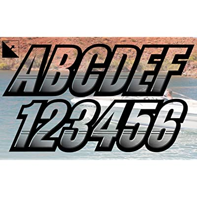 "Stiffie Techtron Transparent Clear/Black 3"" Alpha-Numeric Registration Identification Numbers Stickers Decals for Boats & Personal Watercraft: Automotive"