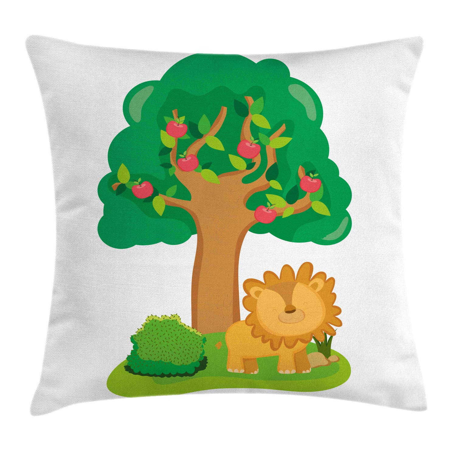 Lunarable Apple Tree Throw Pillow Cushion Cover, Nursery Cartoon Design with Fruit Trees and a Smiling Lion Character, Decorative Square Accent Pillow Case, 24'' X 24'', White and Multicolor by Lunarable