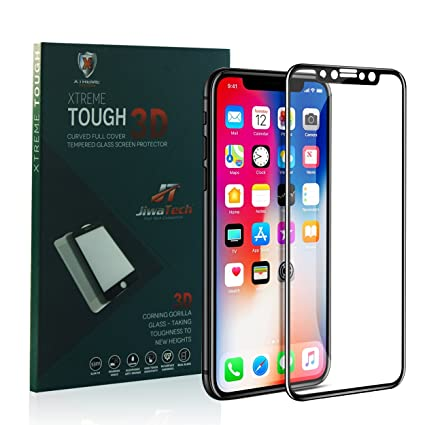 cheap for discount e9875 194d2 Xtreme Tough | iPhone X/iPhone 10 | Edge to Edge 3D Curved Full Cover  Screen Protector |Ultra Clear - Black - Corning Gorilla Glass (USA) 0.33mm  Real ...