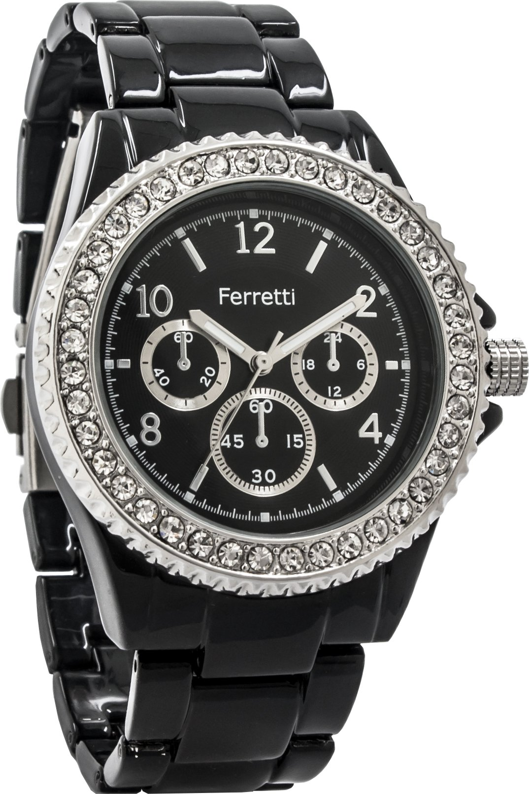 Ferretti Women's | Sophisticated Black Diamond-Studded Bezel Bracelet Watch | FT12803 by Ferretti