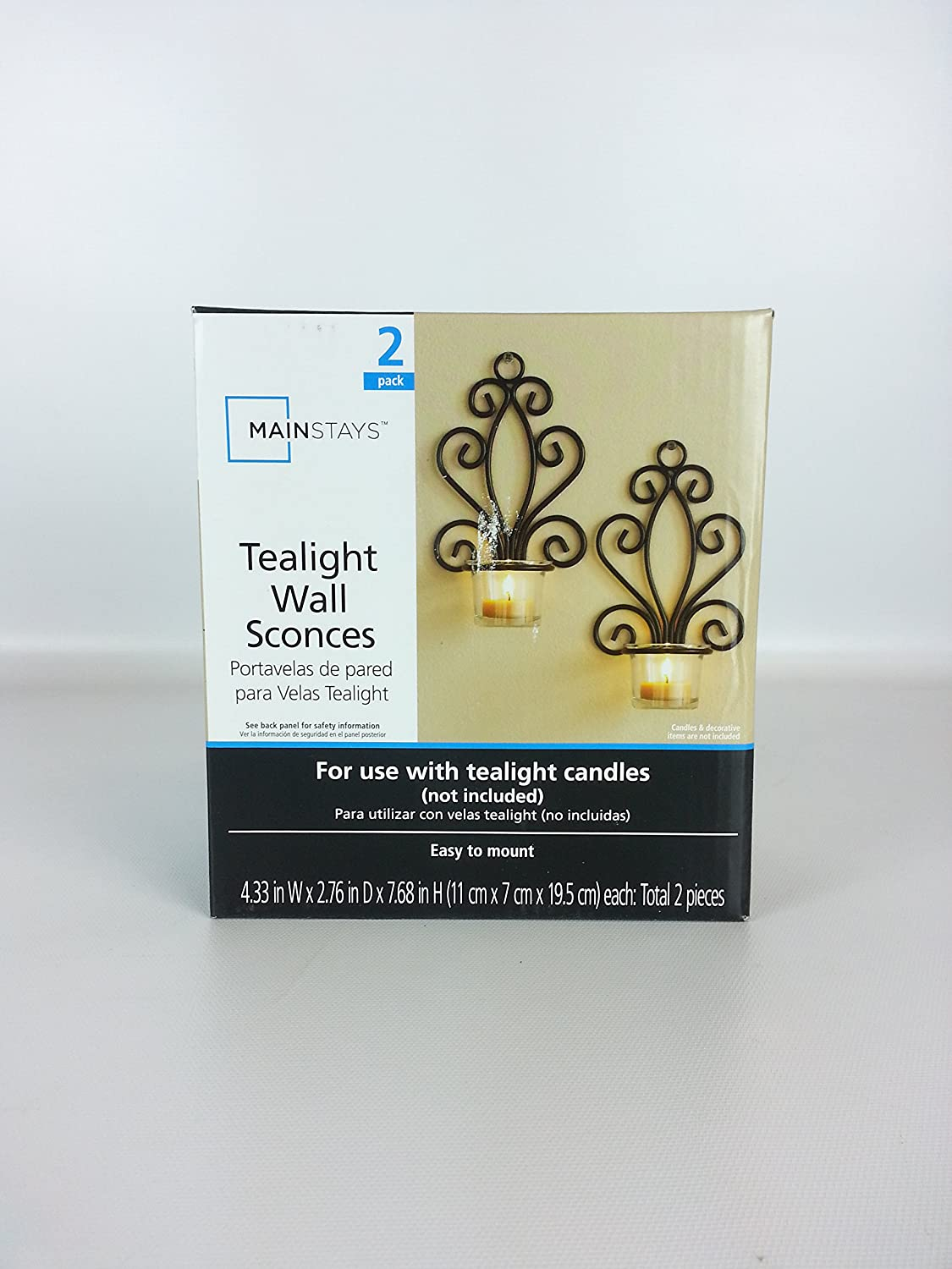 Mainstays 76 X 43 Tealight Wall Sconces 2 Pack Amazon