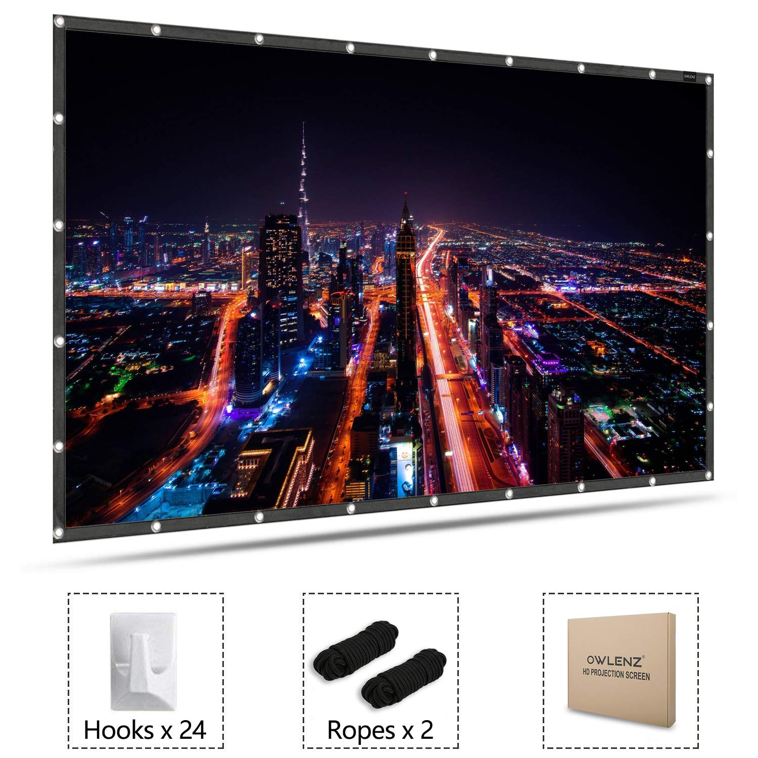 Projector Screen 120'' Diagonal 16:9 4K Ultra HD Ready HDTV White Material with PVC Edge and Backgrd by CACACOL