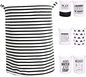 """CAM2 21.6"""" Laundry Baskets Collapsible Waterproof Cotton Linen Foldable Laundry Hampers Household Organizer Baskets with Handles (Black Stripe)"""