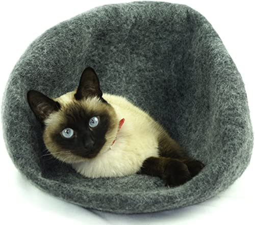 Kivikis Cat Bed, House, Cave, Nap Cocoon, Igloo, 100 Handmade from Sheep Wool Size Large, L for 6-8 kg 12-16 pounds cat. Dark Gray