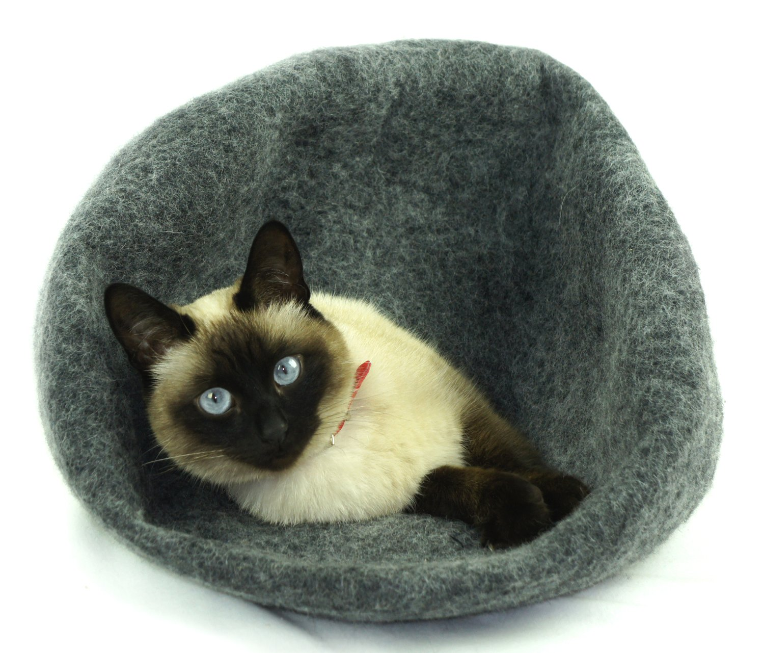 Cat Bed, House, Cave, Nap Cocoon, Handmade pure sheep wool, Dark Grey Size – Large