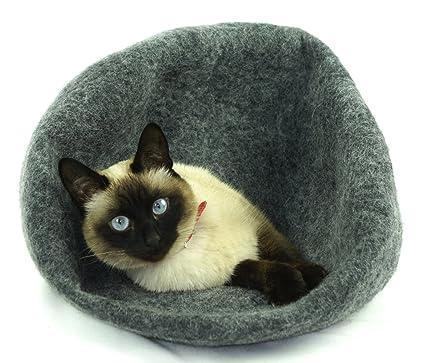 kivikis Cama de gato, casa, cuevaHecho a mano.Fieltro.Lana natural y