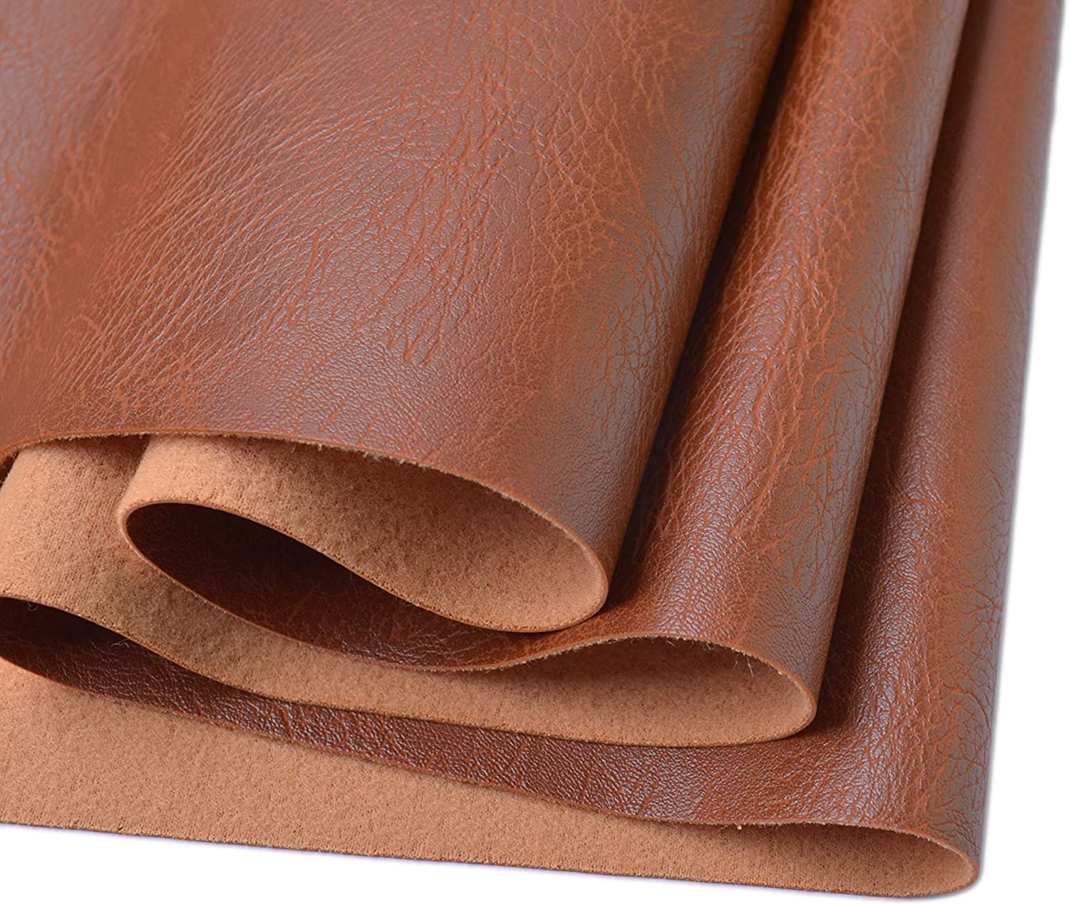 Wento Thick 1 Yard Faux Leather Fabric Soft Skin Grain PU Leather Fabric for Furniture Cover Reupholster Sofa Chairs Cushiones Vinyl Upholstery Fabric (1yard,Cinnamon Brown)