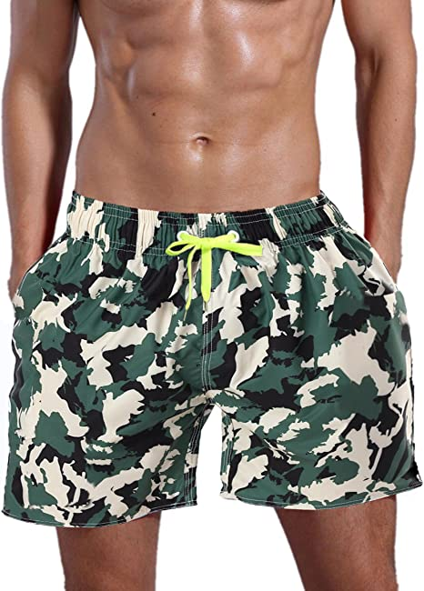 ORANSSI Men's Solid 16-Inch Waterproof Swim Trunks