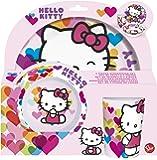 Hello Kitty 82290 Breakfast Set Melamina Sin Orla 3Pieces, Multi-Colour, H 5.9 x W 7.2 x D 2.9 cm