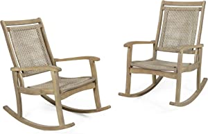Christopher Knight Home 313135 Pearsall Outdoor Rustic Wicker Rocking Chair, Light Brown, Light Multi-Brown