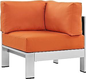 Modway Shore Aluminum Outdoor Patio Corner Chair in Silver Orange