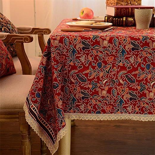Huaxin Encaje Rojo Floral geométrico Mesa paño Lino algodón ...