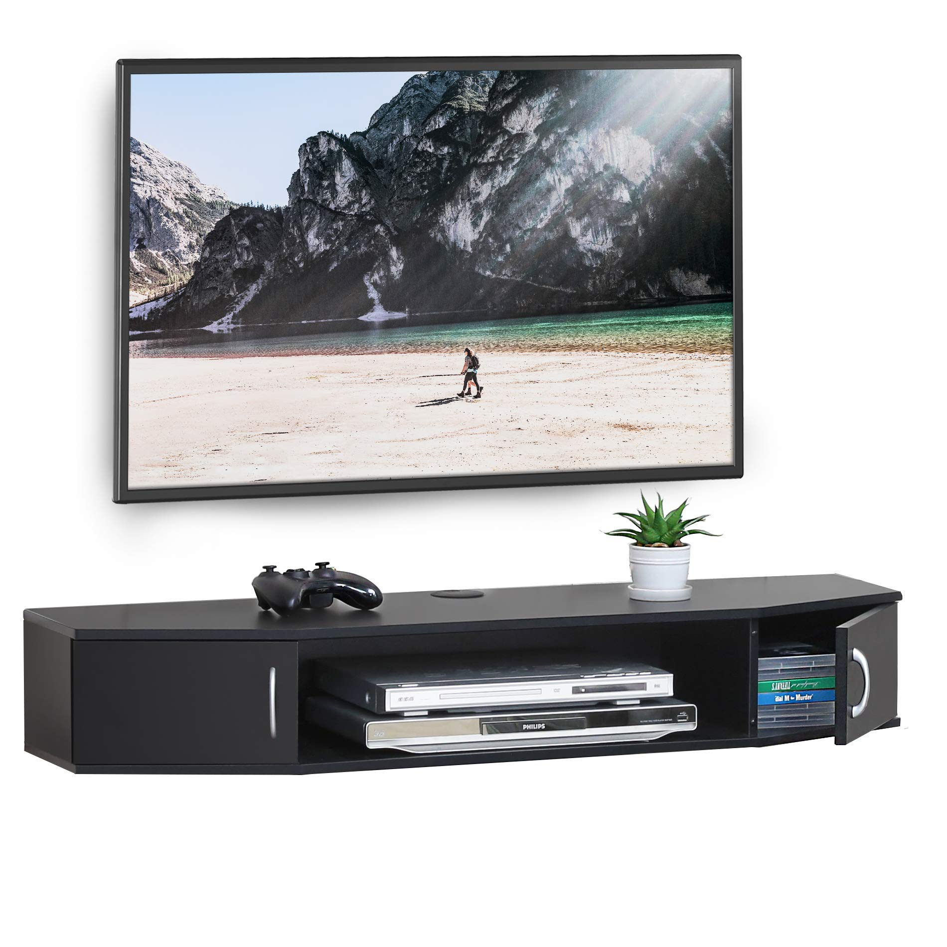 FITUEYES Wall Mounted TV Media Console Floating Desk Storage Hutch for Home and Office DS211001WB by FITUEYES