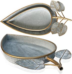 Galvanized Tray Shabby Chic Decor – Unique Rustic Farmhouse Serving Tray Galvanized Centerpiece (Set of 2) – Metal Leaf Gold Tray for Coffee Table