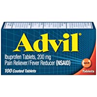 Advil Coated Tablets Pain Reliever and Fever Reducer, Ibuprofen 200mg, 100 Count...