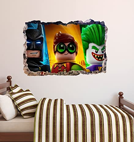 Lego Movie Smashed 3D Wall Decal Batman Robin Joker Sticker Vinyl Decor Art DA79 (Giant & Amazon.com: Lego Movie Smashed 3D Wall Decal Batman Robin Joker ...