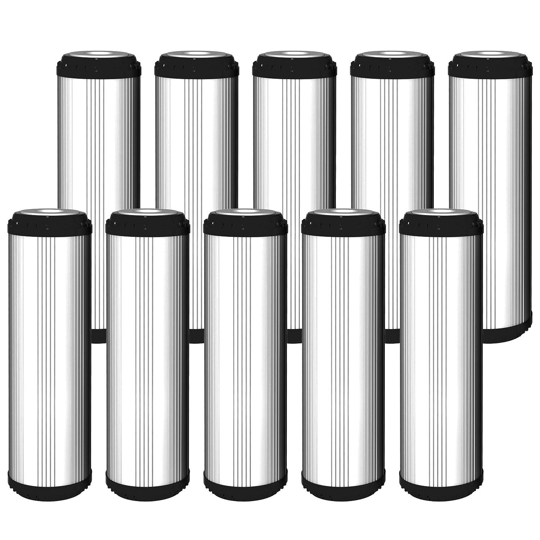 10 x Aquafilter 25,4 cm Standard GAC Wasserenthä rtung Filter gefü llt mit Kokosnussschale Carbon und Maß stab Prä vention Medien fü r Umkehrosmose, ganze Haus, gewerblichen, industriellen Reinigung Systemen FCCA