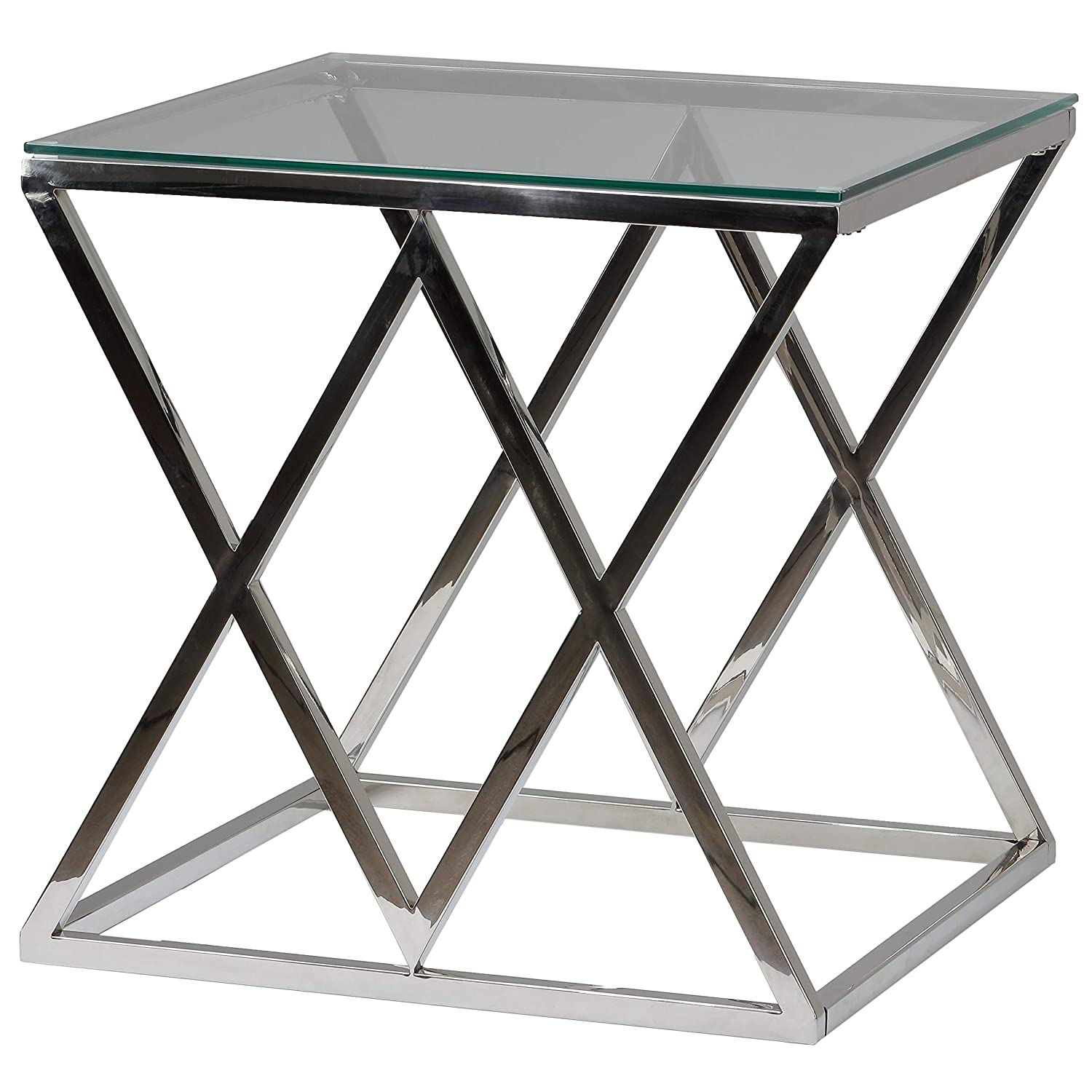 Silver 21.75 Cortesi Home CH-ET636948 Gwen Contemporary Glass End Table 21.75
