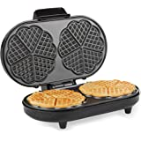 Andrew James Waffle Maker with Adjustable Temperature Electric Machine | 2 Slice Double Belgian Round Waffles With Heart Shaped Sections | Non-Stick Plates | 1200W | Stainless Steel & Black