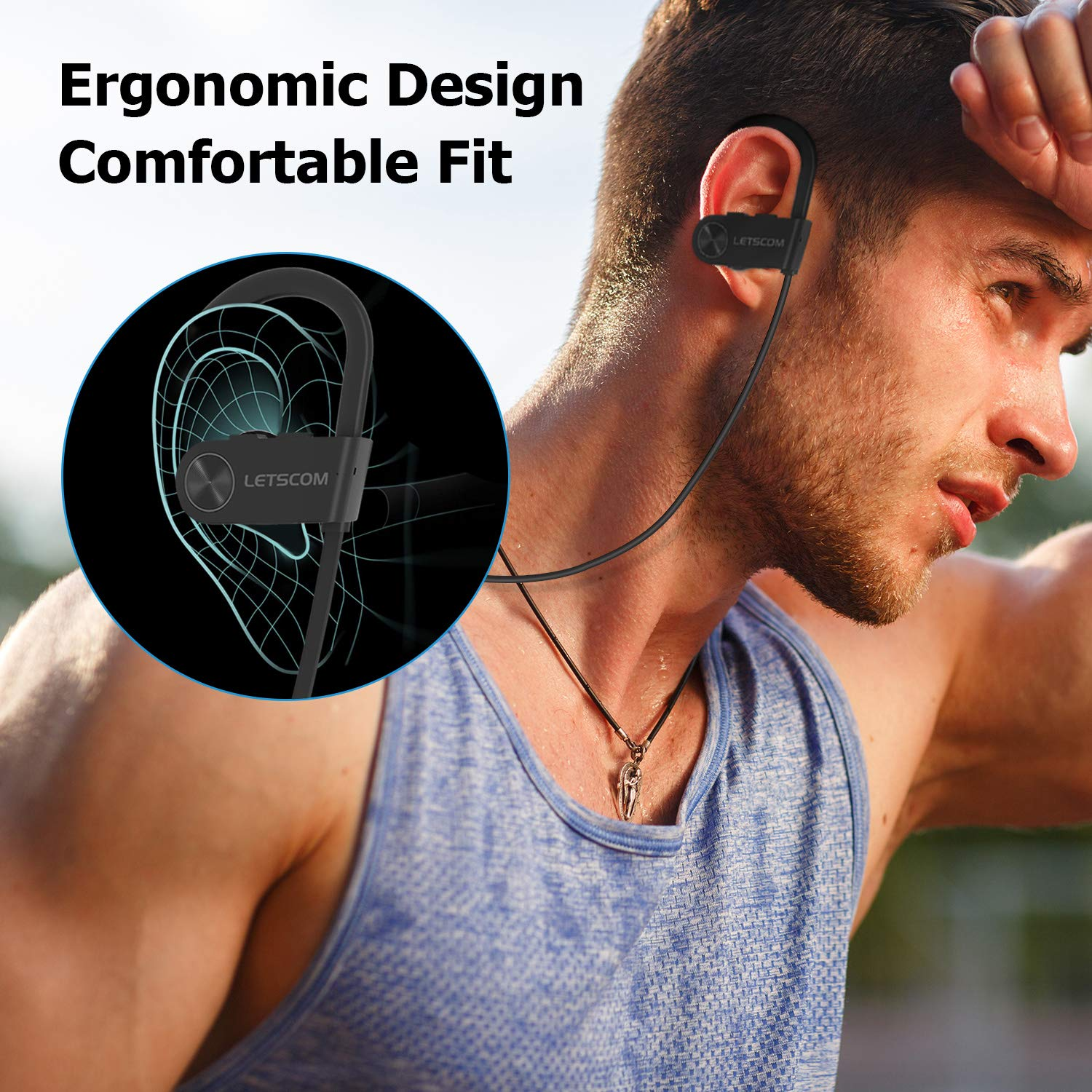 Bluetooth Headphones, LETSCOM Wireless Earbuds IPX7 Waterproof Noise Cancelling Headsets, Richer Bass & HiFi Stereo Sports Earphones 8 Hours Playtime Running Headphones with Travel Case by LETSCOM (Image #5)