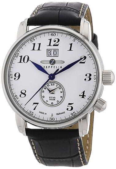 Zeppelin 76441 - Reloj de caballero de cuarzo, correa de piel color negro: Amazon.es: Relojes