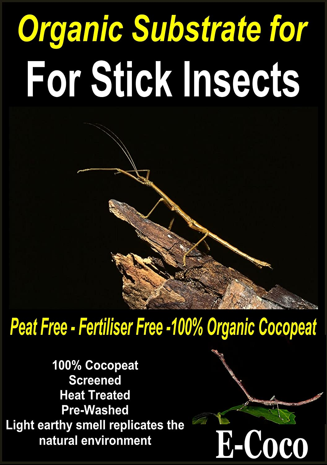 STICK INSECT SUBSTRATE, BEDDING (PHASMATODEA) - FOR INSECTS CAGE, VIVARIUM, TANK OR HABITAT (2.5 LITRES) E-Coco Products UK