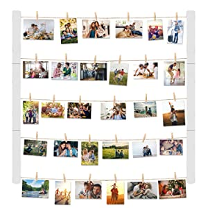 Halcent Wood Picture Frame Photo Frames for Display Pictures, Hanging Wall Decor Photo Display Frame with 30 Clips Multi Rustic Picture Frames 26 x 29 Inch