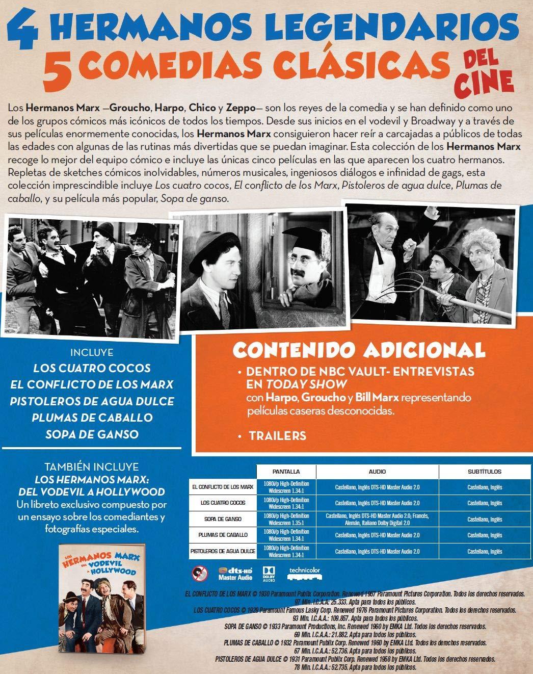 Pack: Hermanos Marx (5 películas BD) [Blu-ray]: Amazon.es: Groucho ...