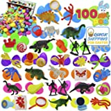 """JOYIN 100 Pieces Toy Filled Hinged 2 3/8"""" Plastic Easter Eggs Bright Solid for Easter Theme Party Favor, Easter Eggs Hunt, Basket Stuffers Fillers, Classroom Prize Supplies Toy"""
