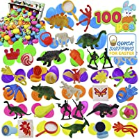 "JOYIN 100 Pieces Toy Filled Hinged 2 3/8"" Plastic Easter Eggs Bright Solid for Easter Theme Party Favor, Easter Eggs Hunt, Basket Stuffers Fillers, Classroom Prize Supplies Toy"