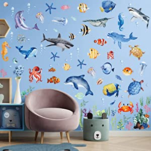 149 Pieces Ocean Animals Wall Decals Jellyfish Wall Stickers Removable Fish Under Sea View Animals Peel and Sticks Wall Art Decor for Kids Baby Bedroom Living Room Nursery Classroom Decoration