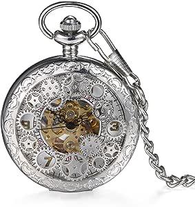LANCARDO Reloj de Bolsillo Mecánico de Cuerda Manual Cubierta Forma de Engranajes Collar de Suéter Retro con Colgante Cadena Impermeable de 10m Tiempo Preciso para Hombre Mujer Unisex (Negro)