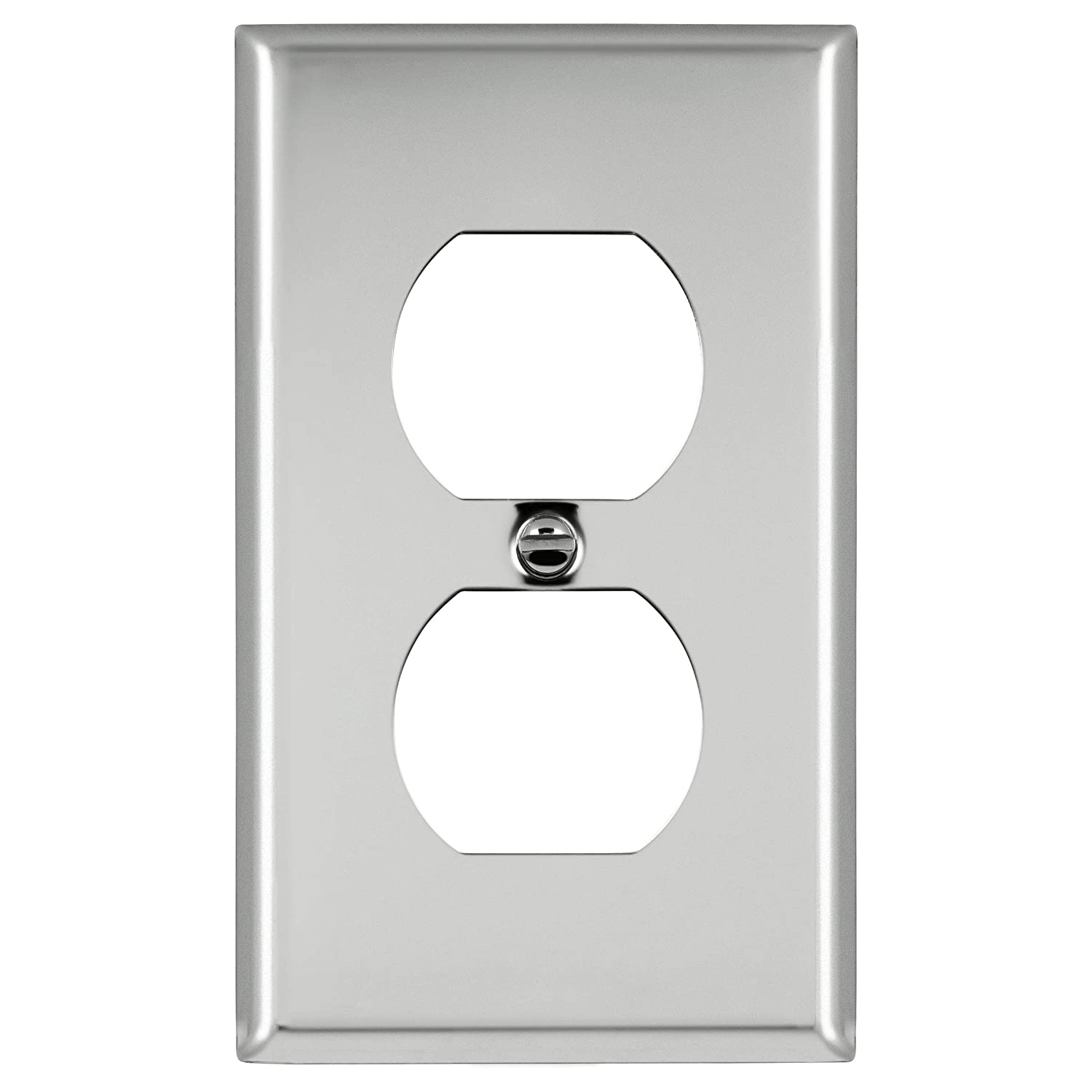 ENERLITES Duplex Receptacle Outlet Metal Wall Plate 430 Stainless Steel Size 1-Gang 4.50 x 2.76 7721-10PCS Corrosive Resistant Size 1-Gang 4.50 x 2.76 10 Pack