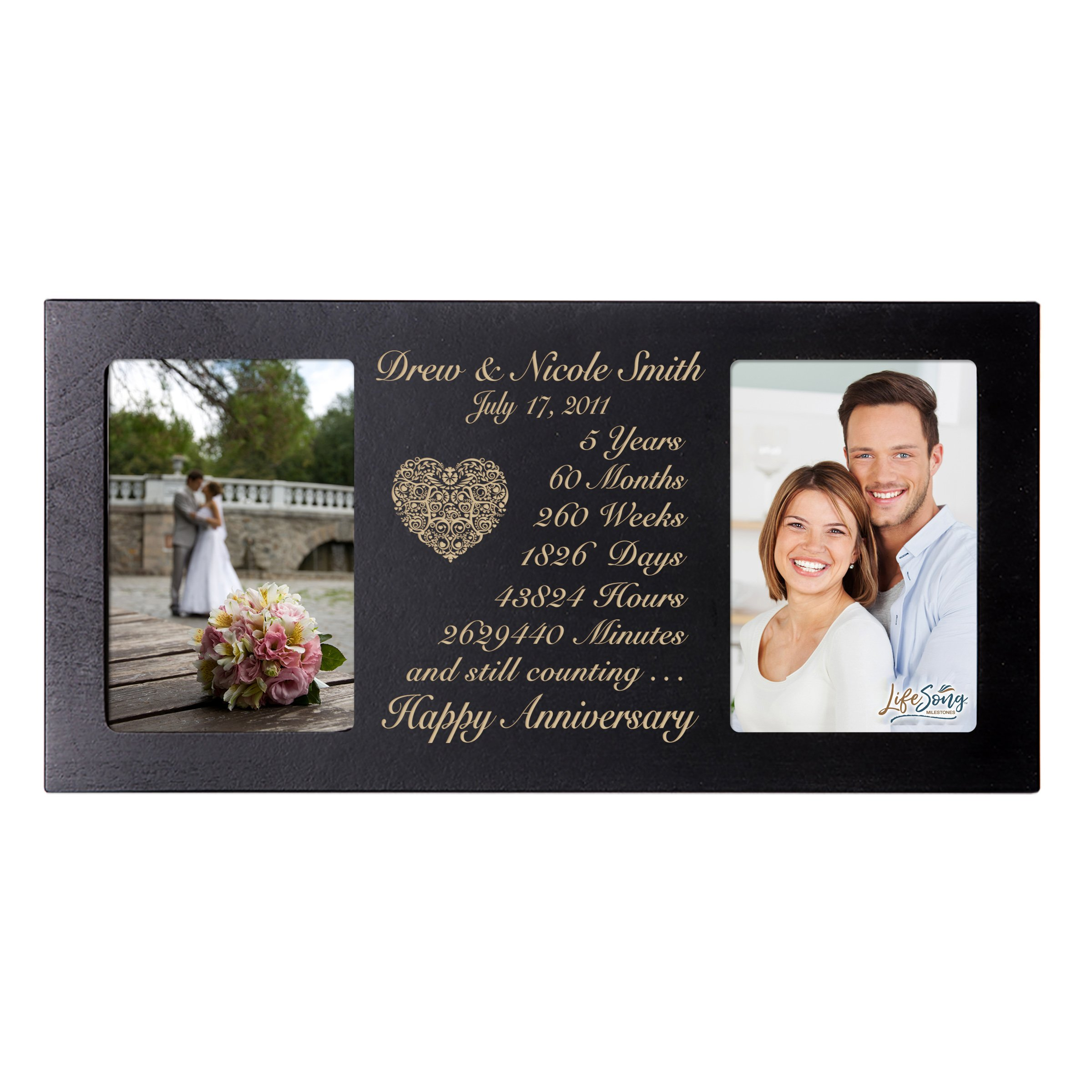 LifeSong Milestones Personalized Five Year her him Couple Custom Engraved Wedding Celebration for Husband Wife Girlfriend Boyfriend Photo Frame Holds Two 4x6 Photos (Black) by LifeSong Milestones (Image #2)