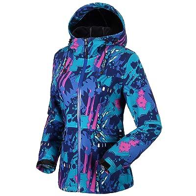 Fastorm Women's Fleece Softshell Jacket Hooded Thermal Camouflage Windbreaker Outdoor Climbing Winter Coat