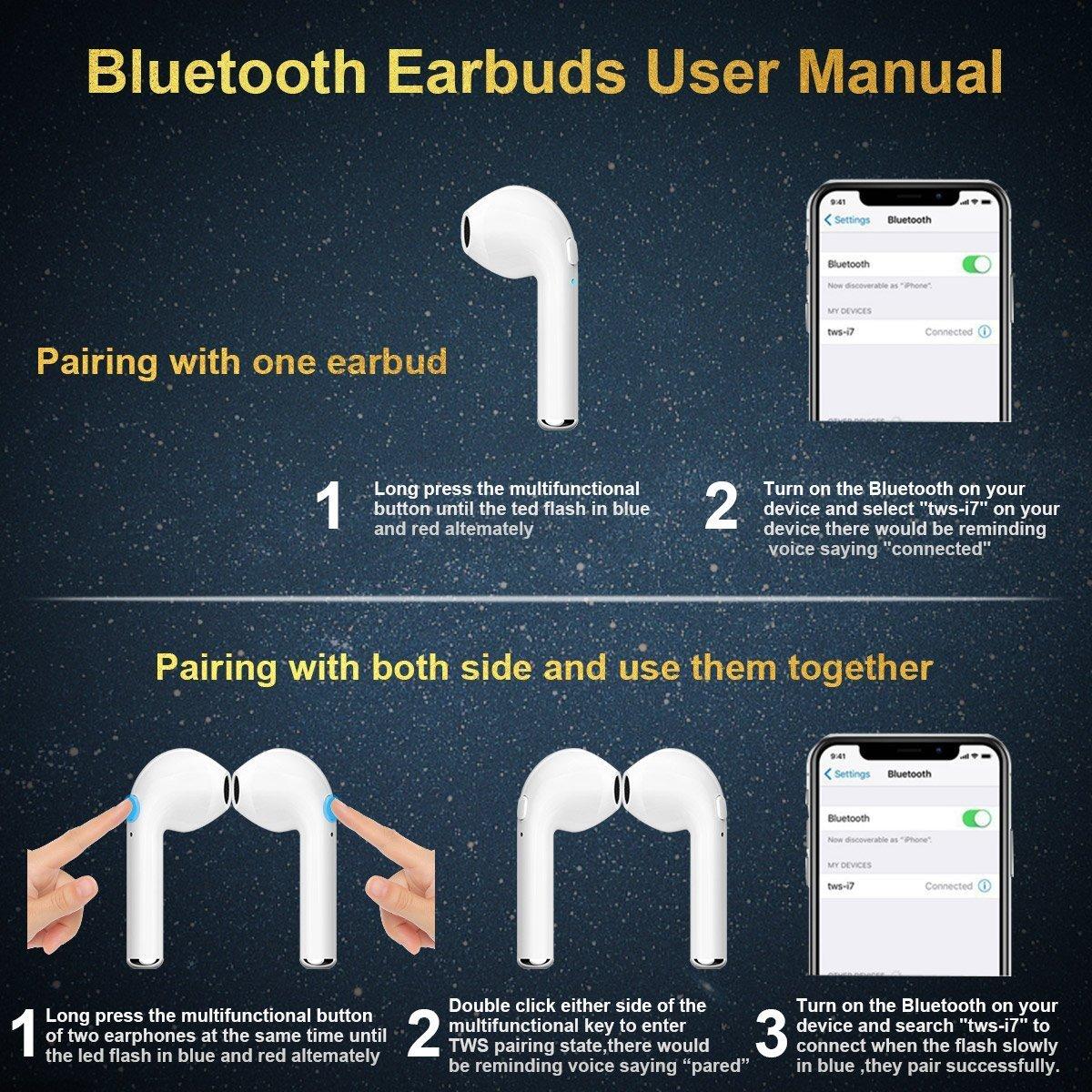 Bluetooth Earbud Wireless Earbuds Built-in Mic In-Ear Earbud Earphones Sports Cordless Bluetooth Headphones Stereo Bass Earpiece Wireless Bluetooth Earbuds Suitable all smartphones