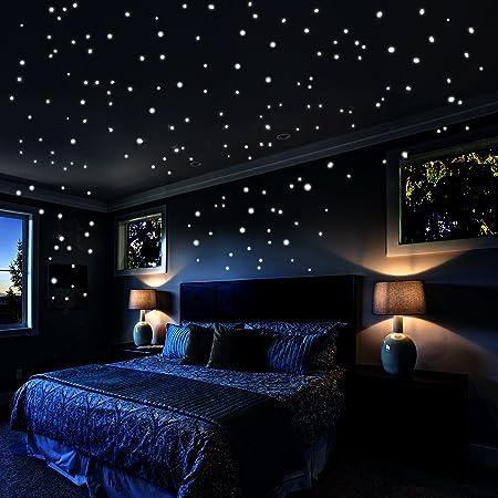 Room PVC Star Design Decoration Glow in the Dark Wall Sticker Decal Blue 50 Pcs
