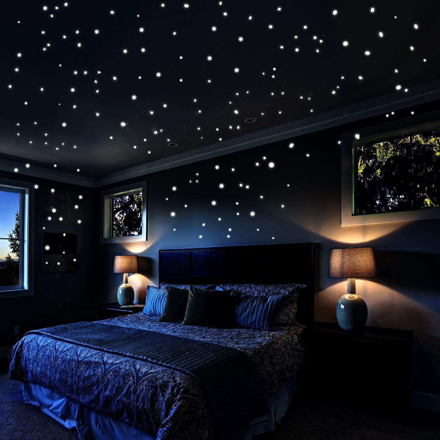 Airbin Glow in The Dark Stars Wall Stickers, 730 pcs Dots and Moon for The Galaxy, Gifts for Kids Bedding Room or Birthday, Wall Decals, Lighten The Love of Your Heart